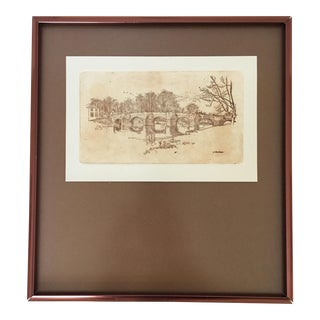 Framed Brown Monotone Village Engraving