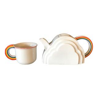 Japanese Cloud and Rainbow Teapot and Mug Set