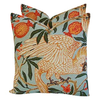 Custom Tropical Parrot & Pomegranate Feather/Down Pillows - a Pair