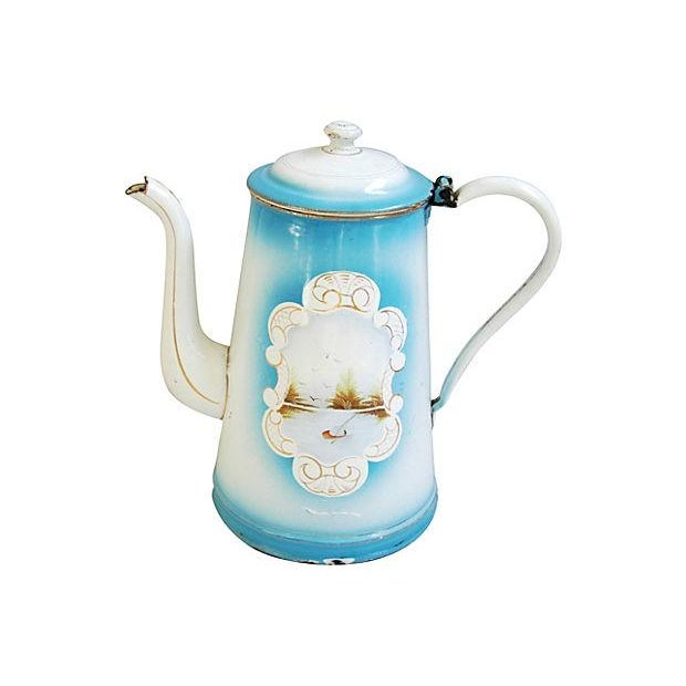 Image of 1920s Hand-Painted French Coffeepot