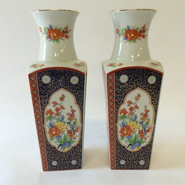 Chinoiserie Style Square Vases - A Pair - Image 7 of 10