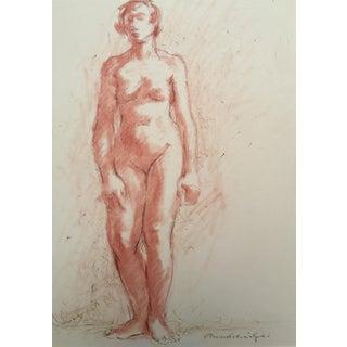Vintage Standing Nude Pastel Pen Ink Drawing