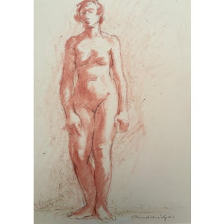 Vintage Standing Nude Pastel Pen Ink Drawing