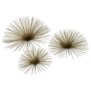 Large Gold Metal Wall Star Bursts - Set of 3