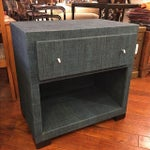 Image of Blue Palm Close Side Table with Raffia