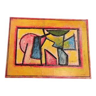 Mixed Media Abstract Painting 70's, Ronald Ahlstrom