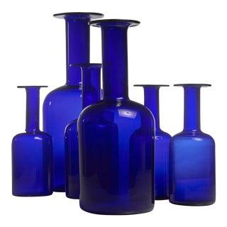Otto Brauer set of six blue glass vases for Holmegaard, Denmark