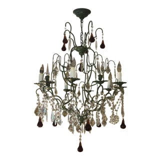Clive Christian Victorian Style Crystal Chandelier With Amber Pears and Crystal Grapes