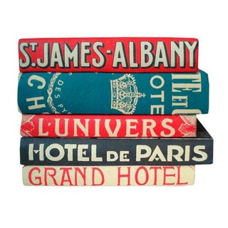 Vintage Hotel Hand Bound Books - Set of 5