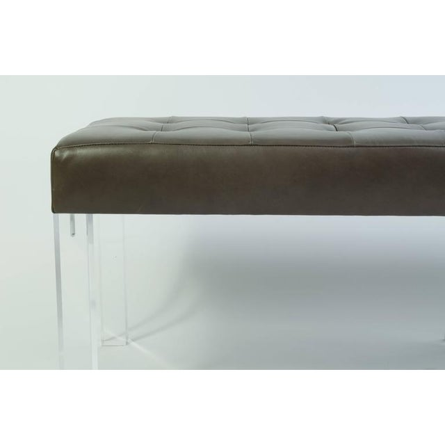 Lucite Prism Bench in Gunmetal Leather with Blind Tufting by Montage - Image 5 of 8
