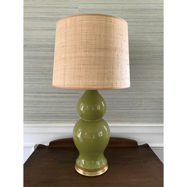 Green Ceramic Gourd Lamp With Gilded Gold Base - Image 2 of 5