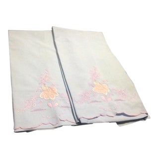 Vintage Blue & Pink Pillowcases - A Pair