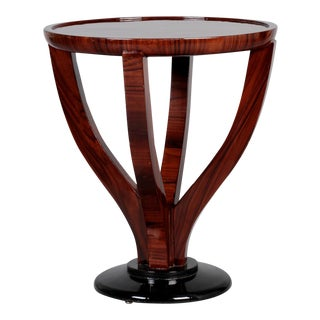 Art Deco Round Palisander Table on Pedestal Base