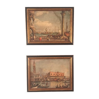 Antique Venice Prints on Canvas - Pair