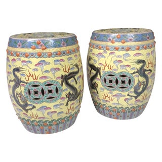Chinese Glazed Ceramic Garden Stools - A Pair