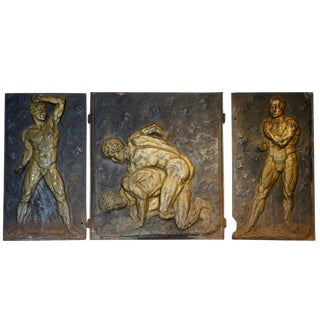 Gilt Cast Iron Strong Men Fireplace Backs - Set of 3