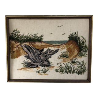 Vintage Beach Ocean Dune Scene Embroidery Art