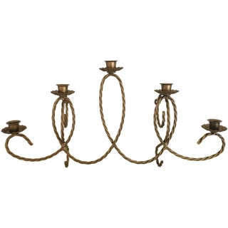 Scrolled French Style Brass Candelabra Sconce
