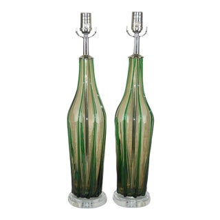Pin Striped Vintage Murano Lamps