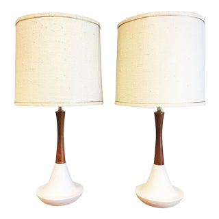 Mid Century Modern White Sculptural Pottery Table Lamps - A Pair