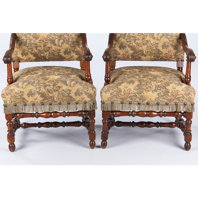 Image of 1860's French Louis XIII Style Armchairs - Pair