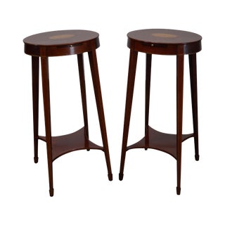 Kindel Inlaid Massachusetts Kettle Stands - a Pair