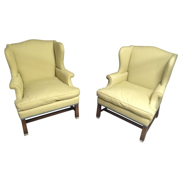 Vintage Pale Green Wing Chairs - A Pair - Image 1 of 4