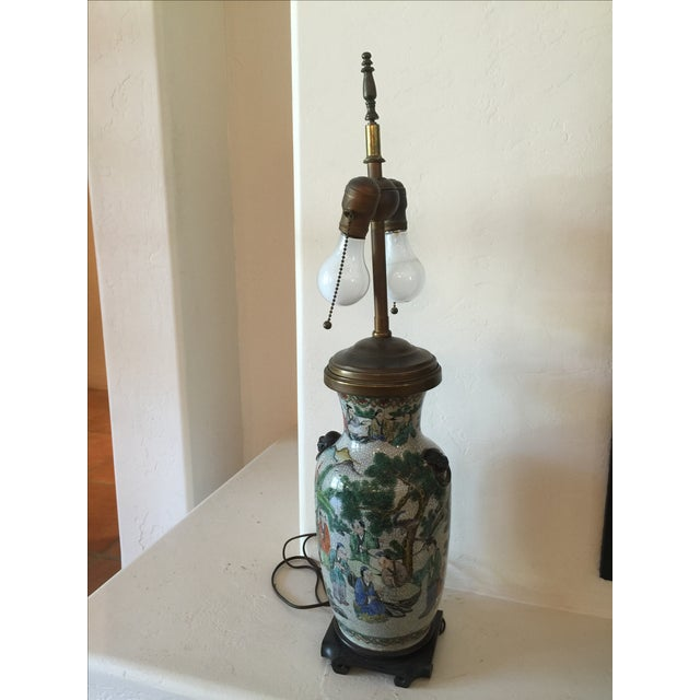 Vintage Asian Table Lamp With Wooden Base - Image 3 of 11