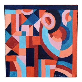 Original Blue and Red Modern Geometric Painting