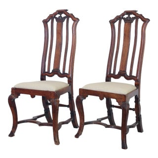 Anglo Dutch Walnut Chairs - A Pair
