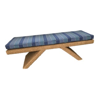 Rattan Bench With Striped Cushion