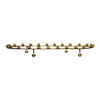 Large Brass Oval Candelabra for 24 Candles, Denmark, 1950s
