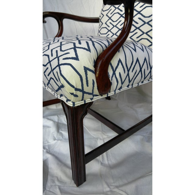 Navy Accent Chair With Wood Arms: Vintage Navy & White Wooden Arm Chair