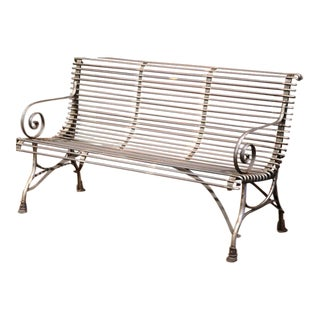 French Polished Iron Bench with Scrolled Arms & Hoof Feet Signed Sauveur Arras