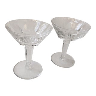 Beautiful & Elegant Mid Century Crystal Goblets -- A Pair