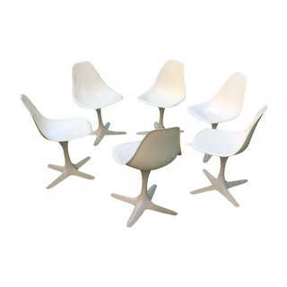 Burke Vintage White Tulip Chairs - Set of 6