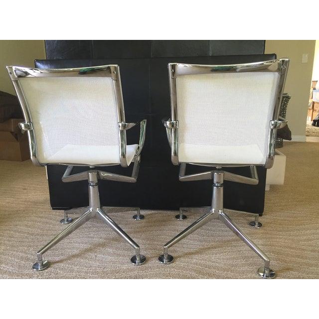 Alias White Mesh Chrome Swivel Armchairs - Pair - Image 4 of 5