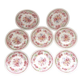 Johnson Brothers Winchester Pink Transfer Ware Bread & Butter Plates - Set of 8