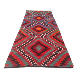 Vintage Turkish Kilim Runner Rug - 4′8″ × 12′3″