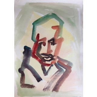 Jacob Semiatin 1953 Watercolor Portrait
