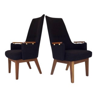 Mid-Century Walnut & Tweed Armchairs - A Pair