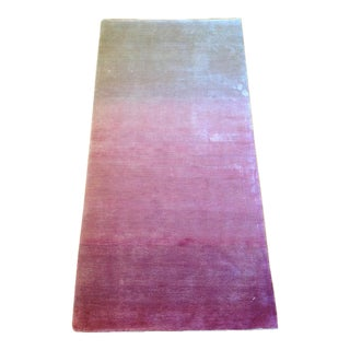 Silky White & Pink Ombre Rug - 2' X 4'