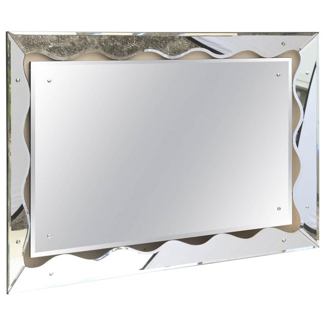 Image of Hollywood Regency Monumental Scalloped Horizontal Mirror