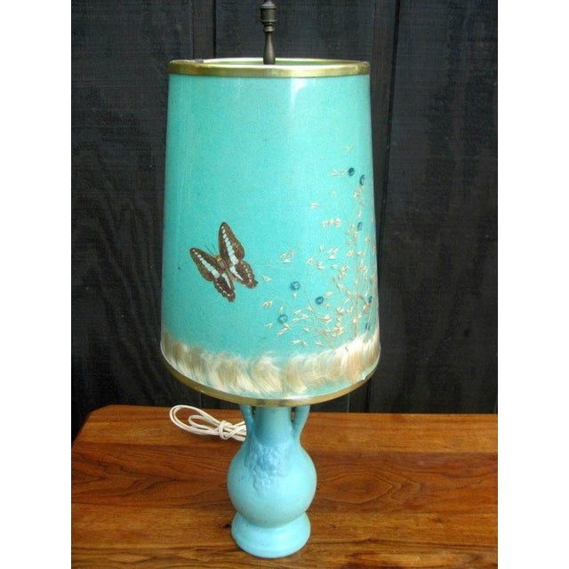 Van Briggle Turquoise Butterfly Lamp - Image 3 of 8