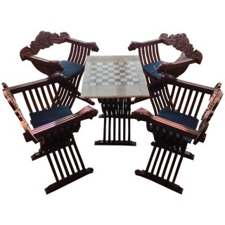Chess Board Table & Folding Chairs