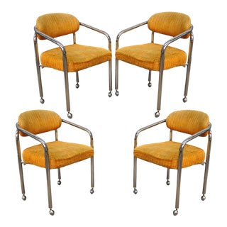 Vintage Chromcraft Mid-Century Modern Tubular Chrome Dining Arm Chairs - Set of 4