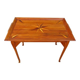 19th Century Jamaican Regency Yucca Tray Table with Exotic Specimen Compass