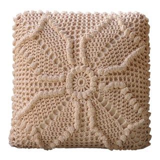 Boho Chic Crocheted Macrame Square Accent Pillow