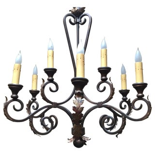 Traditional Bronze Eight-Light Chandelier
