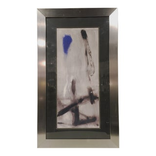Large Abstract Print in Silver Frame